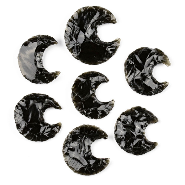 Black Obsidian Rough Cut Moon Specimen - 1 piece, approx. 22x32mm