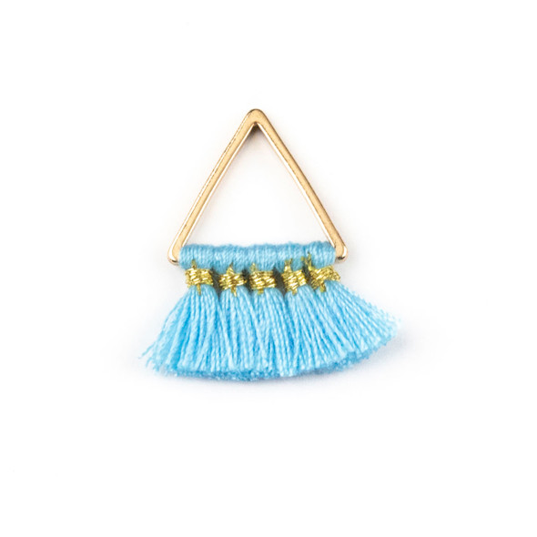 Gold Plated Brass 15mm Triangle Components with Blue 10mm Nylon Tassels - 2 per bag, tascomCX-004