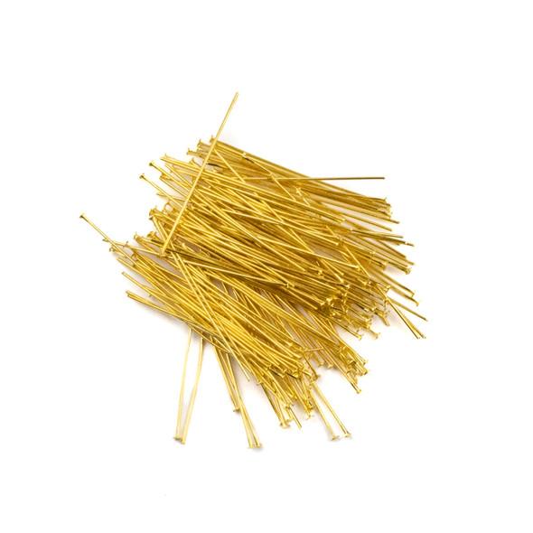 Gold Plated Brass 1.5 inch, 22g Headpins - 150 per bag