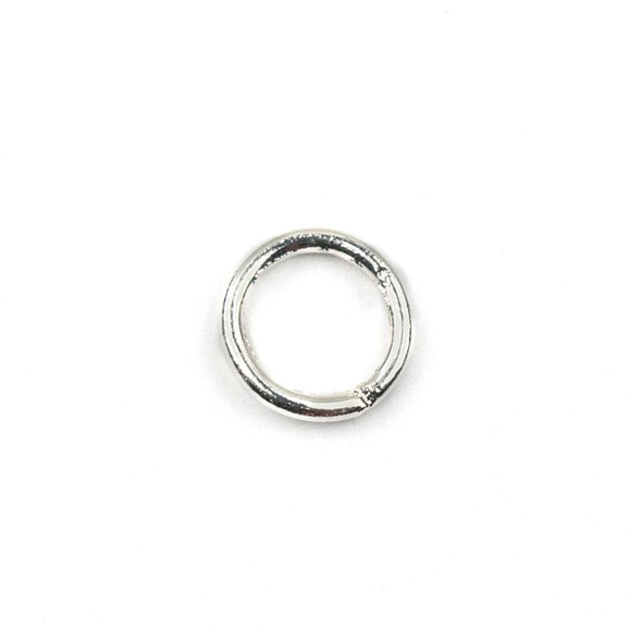 Silver Plated Brass 6mm Soldered Closed Jump Rings - .8mm/20 gauge - 100 per bag