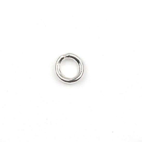 Silver Plated Brass 4mm Soldered Closed Jump Rings - .8mm/20 gauge - 100 per bag