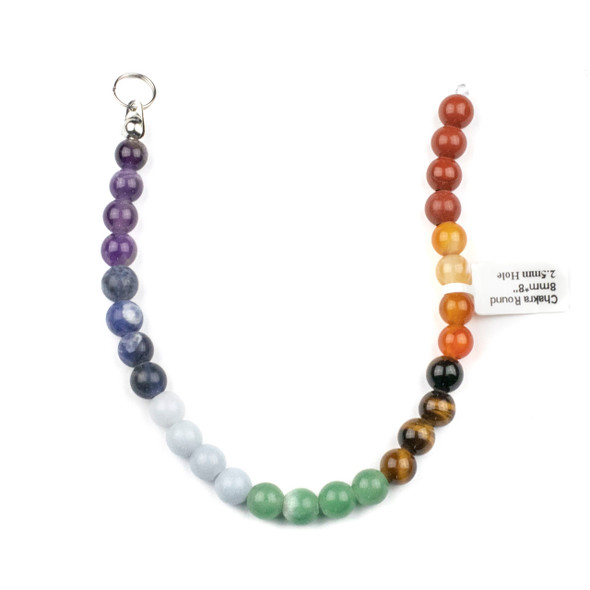 Large Hole Chakra 8mm Round Beads with 2.5mm Drilled Hole - approx. 8 inch strand