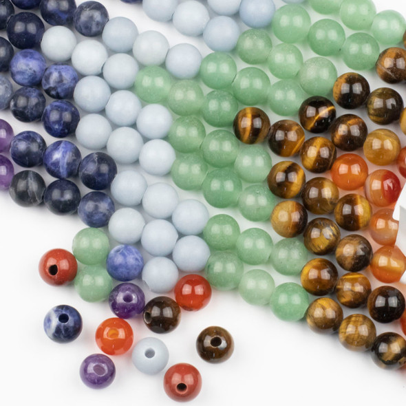 Large Hole Chakra 10mm Round Beads with 2.5mm Drilled Hole - approx. 8 inch strand