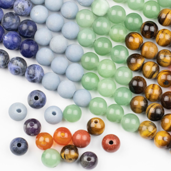 Large Hole Chakra 12mm Round Beads with 2.5mm Drilled Hole - approx. 9.5 inch strand