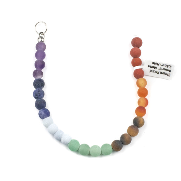 Matte Large Hole Chakra 8mm Round Beads with 2.5mm Drilled Hole - approx. 8 inch strand