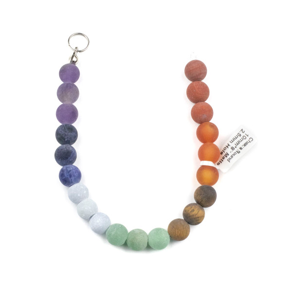 Matte Large Hole Chakra 10mm Round Beads with 2.5mm Drilled Hole - approx. 8 inch strand