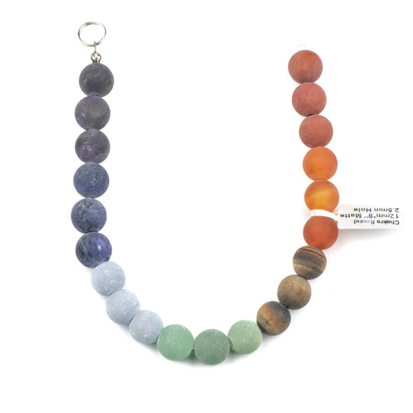 Matte Large Hole Chakra 12mm Round Beads with 2.5mm Drilled Hole - approx. 9.5 inch strand