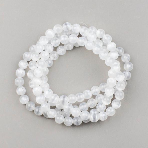 Selenite 8mm Mala Round Beads - 36 inch strand