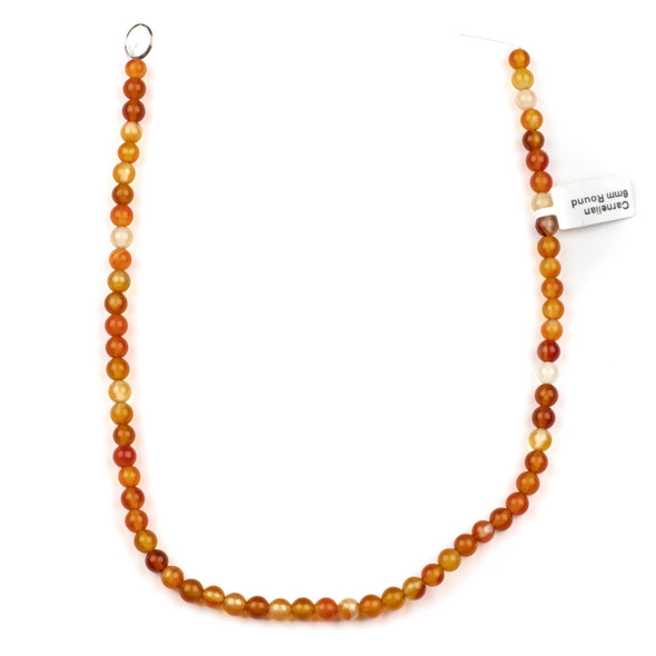 Multicolor Carnelian 8mm Round Beads - 14.5 inch strand