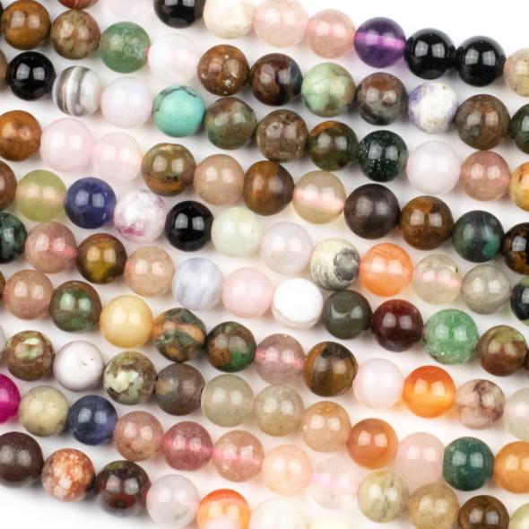 Mixed Gemstone 6mm Round Beads - 15.5 inch strand