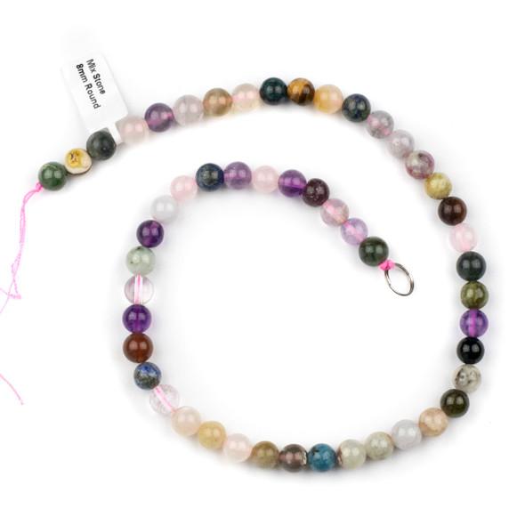 Mixed Gemstone 8mm Round Beads - 15.5 inch strand