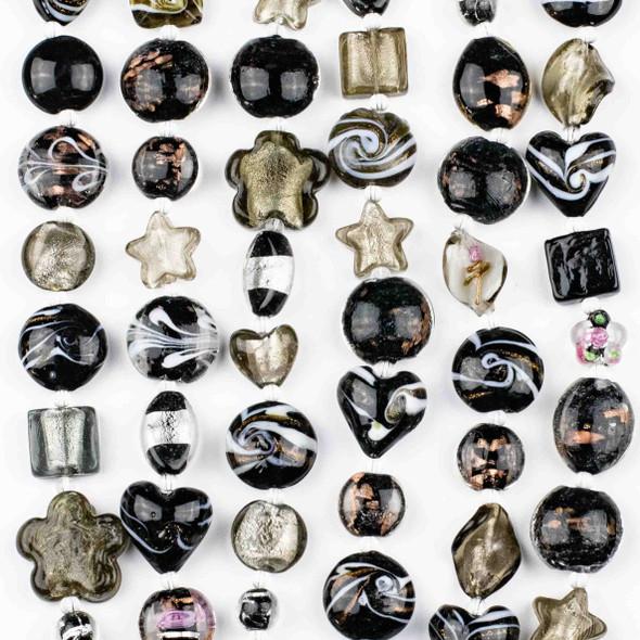 Mixed Handmade Lampwork Glass Strand - Black Mix