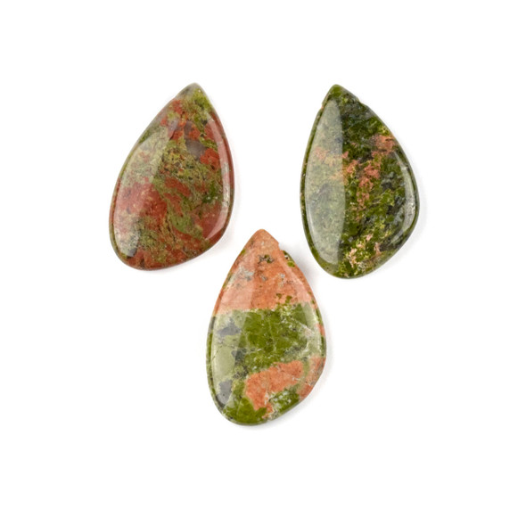 Unakite 18x30mm Top Side Drilled Free Form Pendant - 1 per bag