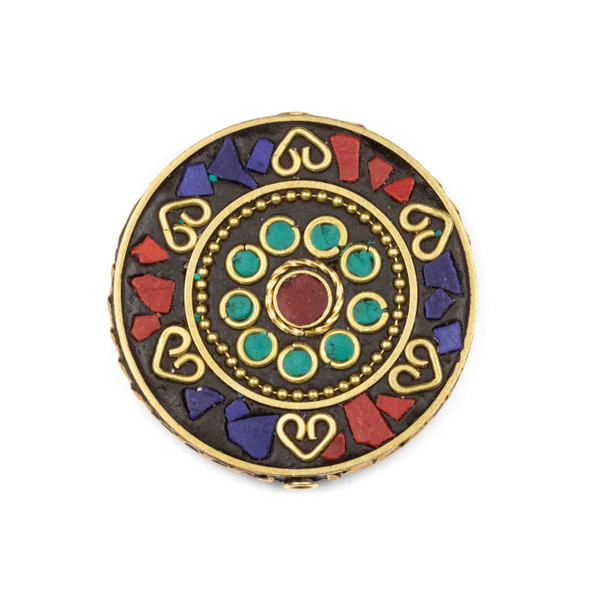 Tibetan Brass 44mm Coin Focal Bead with Hearts, Red Coral, and Lapis Inlay - 1 per bag