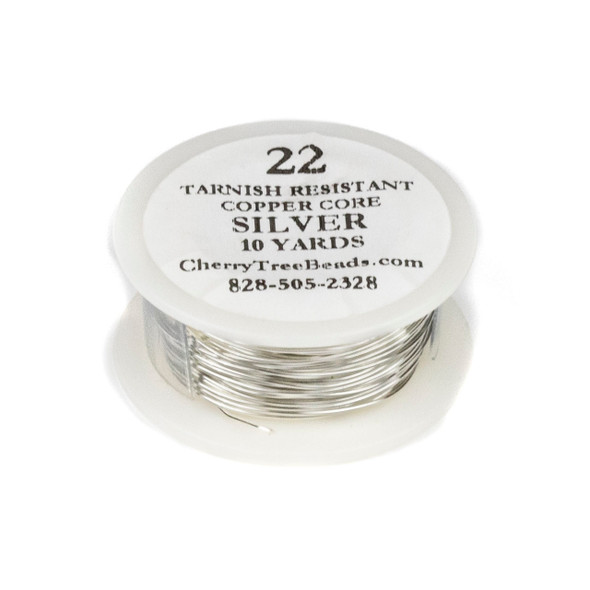 22 Gauge Coated Non-Tarnish Silver Plated Copper Wire in a 10-Yard Coil