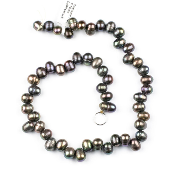 Fresh Water Pearl 9-10mm Peacock Top Drilled Dancing Potato Beads - 15 inch strand