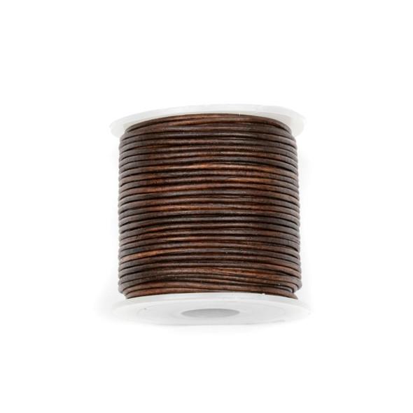1mm Antique Dark Brown Leather Cord - #407, 25 meter spool