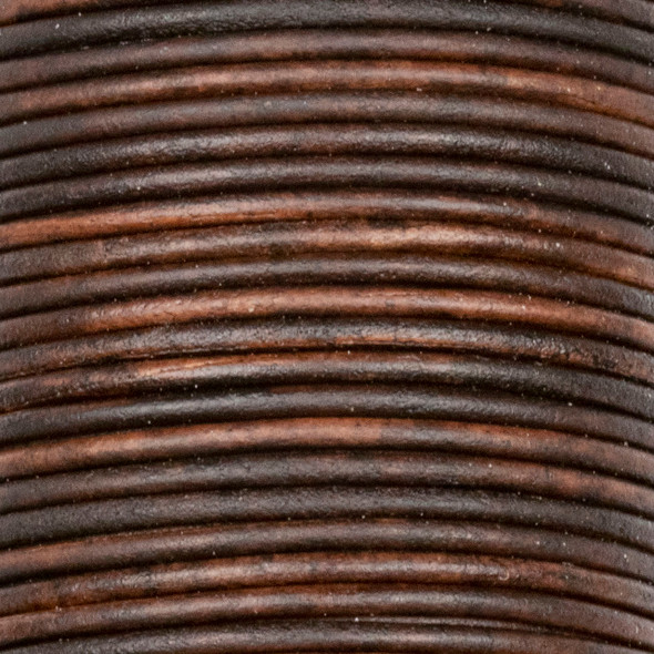1.5mm Antique Dark Brown Leather Cord - #407, 25 meter spool