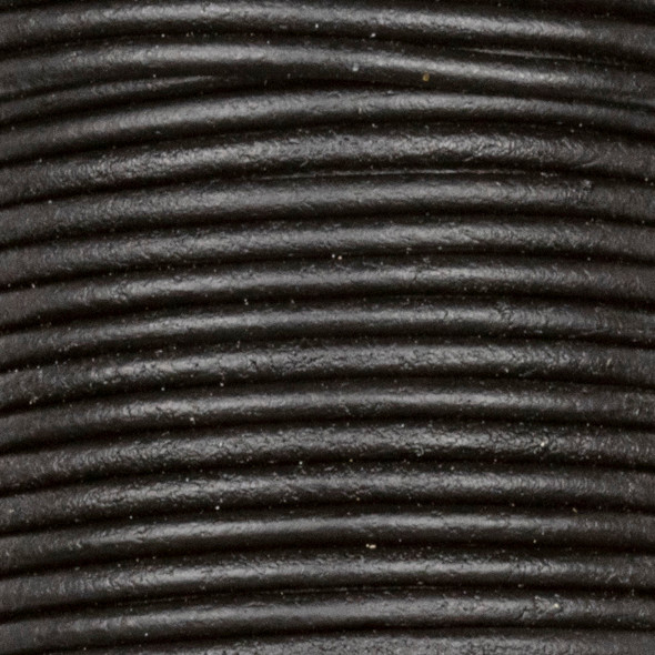 2mm Antique Black Leather Cord - #402, 25 meter spool