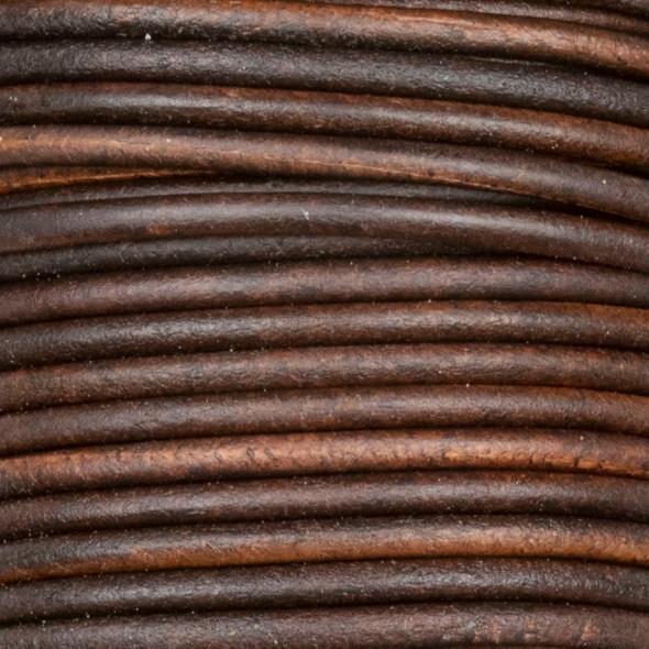 2mm Antique Dark Brown Leather Cord - #407, 25 meter spool