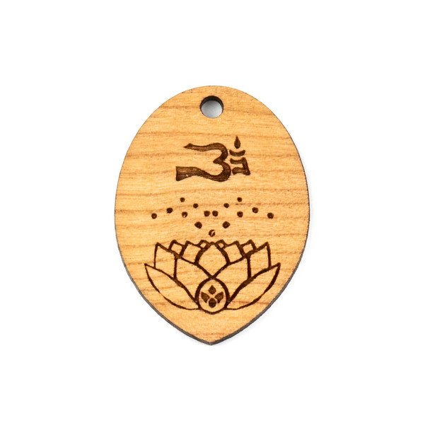 Handmade Wooden 30x40mm Large Ohm, Dots, and Lotus Pointed Oval Focal - 1 per bag