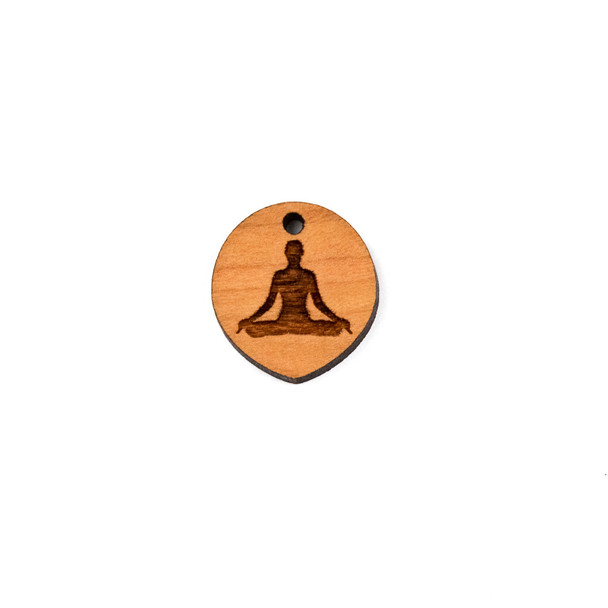 Handmade Wooden 18x20mm Lotus Pose Pointed Oval Focal - 1 per bag