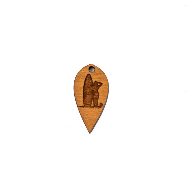 Handmade Wooden 12x24mm Surfer Dew Drop Focal - 1 per bag