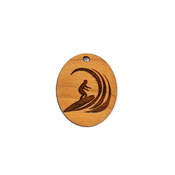 Handmade Wooden 25x30mm Surfer Riding Wave Oval Focal - 1 per bag