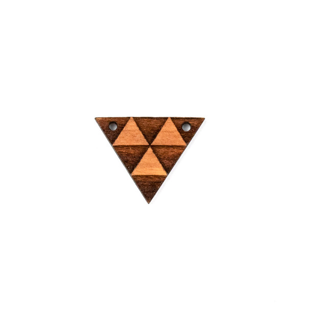 Handmade Wooden 18x23mm Triangle Focal with 2 holes - 1 per bag