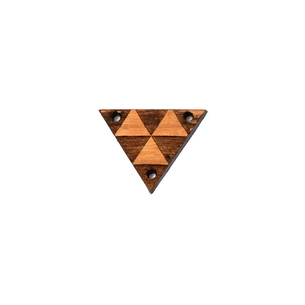 Handmade Wooden 18x23mm Triangle Focal Link with 3 holes - 1 per bag