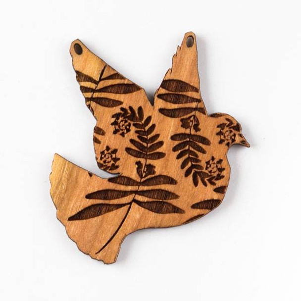 Handmade Wooden 44x45mm Dove Pendant with Fiddlehead Fern Print and 2 Holes
