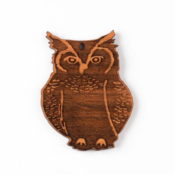 Handmade Wooden 34x44mm Great Horned Owl Pendant