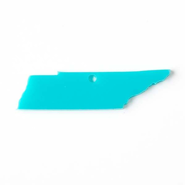 Tennessee Acrylic 17x69mm Turquoise Blue State Pendant (1 hole) - 1 per bag