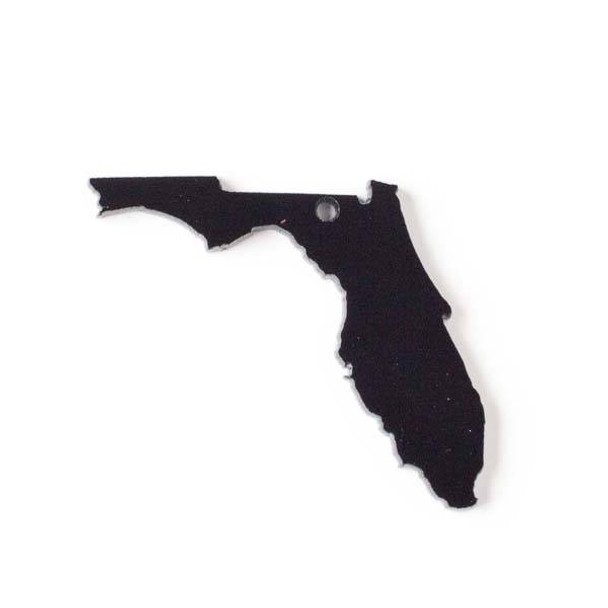 Florida Acrylic 36x39mm Black State Pendant - 1 per bag
