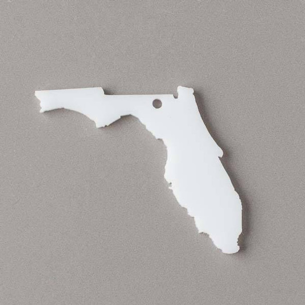 Florida Acrylic 36x39mm White State Pendant - 1 per bag