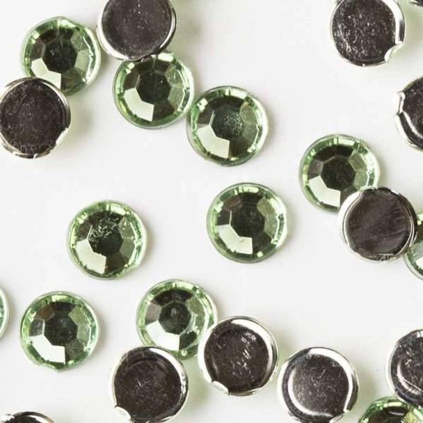 4mm Peridot Green Flat Back Acrylic Crystals