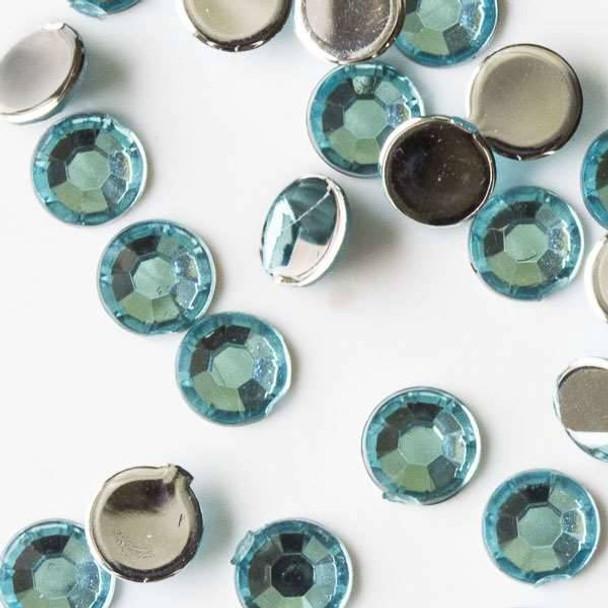 4mm Aqua Blue Flat Back Acrylic Crystals