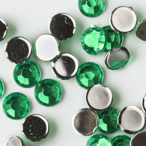 4mm Emerald Green Flat Back Acrylic Crystals