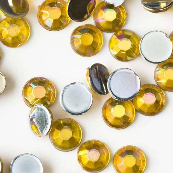 4mm Citrine Yellow AB Flat Back Acrylic Crystals