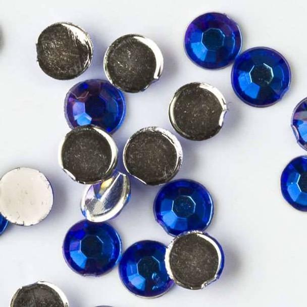 4mm Sapphire AB Flat Back Acrylic Crystals