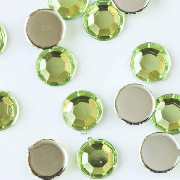 6mm Peridot Green Flat Back Acrylic Crystals