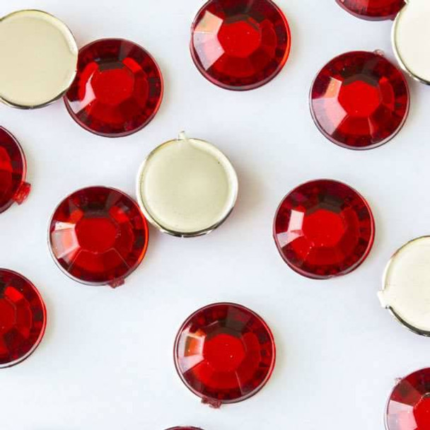 6mm Light Siam Red Flat Back Acrylic Crystals