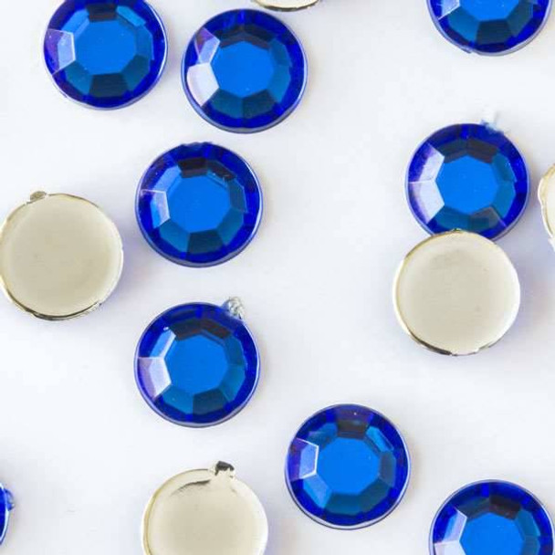 6mm Sapphire Blue Flat Back Acrylic Crystals