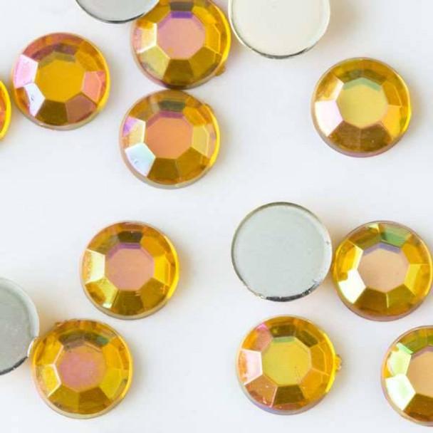 6mm Citrine Yellow AB Flat Back Acrylic Crystals