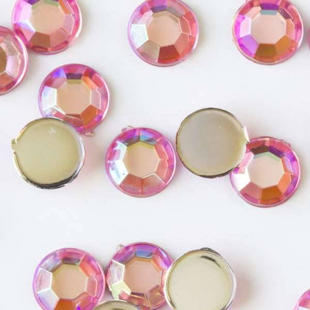 6mm Pink AB Flat Back Acrylic Crystals