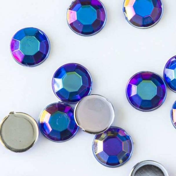 6mm Sapphire Blue AB Flat Back Acrylic Crystals