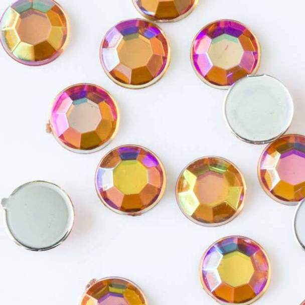 6mm Amber AB Flat Back Acrylic Crystals