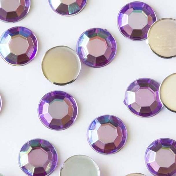 6mm Lavender Purple AB Flat Back Acrylic Crystals