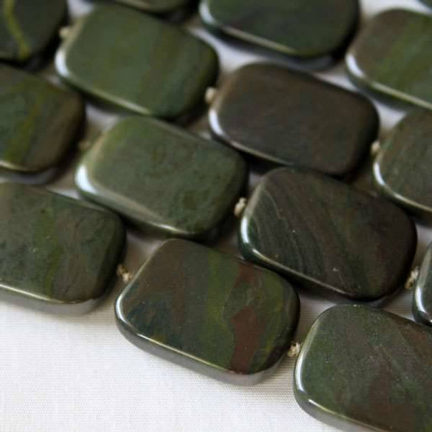 African Green Jasper 18x25mm Knotted Rectangle Beads -16 inch strand