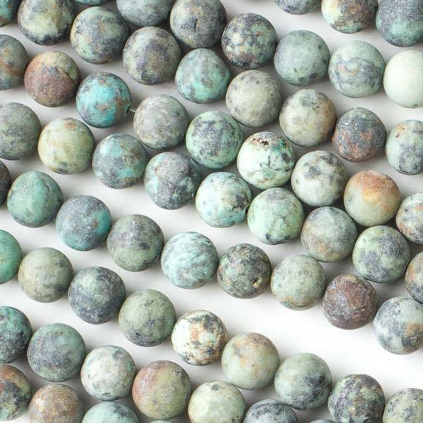 Matte African Turquoise 8mm Round Beads - 16 inch strand
